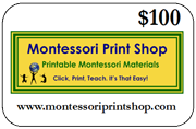 $100 Gift Certificate for printable Montessori materials from Montessori Print Shop