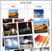 Hot or Cold Objects? - Printable Montessori Learning Materials by Montessori Print Shop.