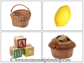 Phonetic Photos for Moveable Alphabet Step 2 (Large) - Printable Montessori Learning Materials by Montessori Print Shop.