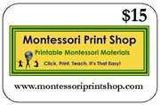 $15 Gift Certificate for printable Montessori materials from Montessori Print Shop