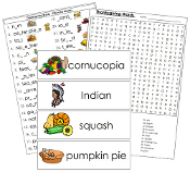 Thanksgiving Word Wall - Printable Montessori Language Cards by Montessori Print Shop.