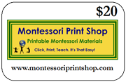 $20 Gift Certificate for printable Montessori materials from Montessori Print Shop