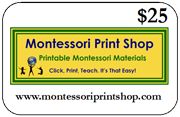 $25 Gift Certificate for printable Montessori materials from Montessori Print Shop