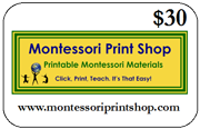 $30 Gift Certificate for printable Montessori materials from Montessori Print Shop