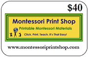 $40 Gift Certificate for printable Montessori materials from Montessori Print Shop