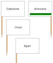 Africa Capital Cities - pin flags (color-coded) - Printable Montessori geography materials by Montessori Print Shop.