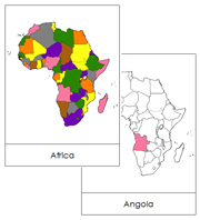 Africa Flash Cards (color-coded) - Printable Montessori geography materials by Montessori Print Shop.