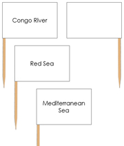 Africa waterway labels - pin flags - Printable Montessori geography materials by Montessori Print Shop.