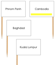 Asian Capital Cities - Pin Map Flags (color-coded) - Printable Montessori Learning Materials by Montessori Print Shop.