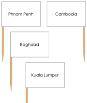 Asia Capital Cities - Pin Map Flags - Printable Montessori Learning Materials by Montessori Print Shop.