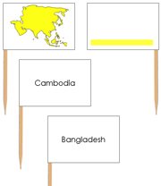 Asia - Pin Map Flags (color-coded) - Printable Montessori Learning Materials by Montessori Print Shop.