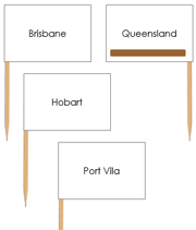 Australian Capital Cities - pin flags (color-coded) - Printable Montessori geography materials by Montessori Print Shop.