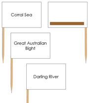 Australian waterway labels - pin flags (color-coded) - Printable Montessori geography materials by Montessori Print Shop.