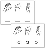 American Sign Language Word Cards (phonetic 3 letters) - Printable Montessori Learning Materials by Montessori Print Shop.