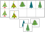 Christmas Tree Match-Up & Memory Game - Printable Montessori Learning Materials by Montessori Print Shop.