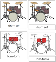 Drum Nomenclature Cards (Red) - Printable Montessori Learning Materials by Montessori Print Shop.