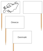 Europe - Pin Map Flags - Printable Montessori Learning Materials by Montessori Print Shop.