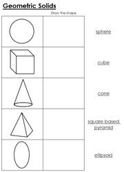 Worksheets for Geometric Solids - Printable Montessori Learning Materials by Montessori Print Shop.