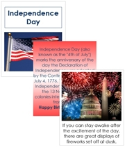 Independence Day Cards and Booklet - Printable Montessori Learning Materials by Montessori Print Shop.