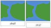 Land and Water Form Cards (b/g) - Printable Montessori Learning Materials by Montessori Print Shop.