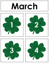 March Calendar Tags - Printable Montessori materials by Montessori Print Shop.