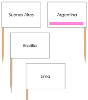 South America Capital Cities - Pin Map Flags (color-coded) - Printable Montessori Learning Materials by Montessori Print Shop.