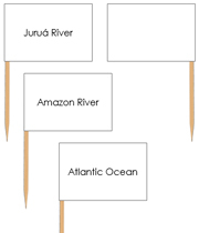 South America waterway labels - Pin Map Flags - Printable Montessori Learning Materials by Montessori Print Shop.
