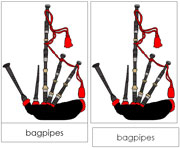 Bagpipes Nomenclature Cards - Printable Montessori Learning Materials by Montessori Print Shop.