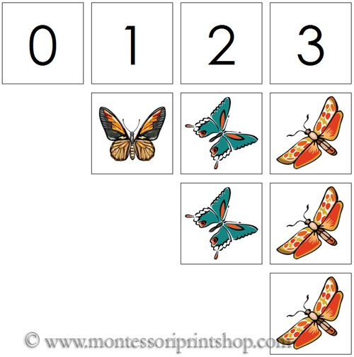 0 to 10 Numbers and Counters (Butterflies) - Printable Montessori Materials for home and school.