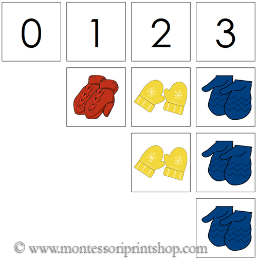 0 to 10 Numbers and Counters (Mittens) - Printable Montessori Materials for home and school.