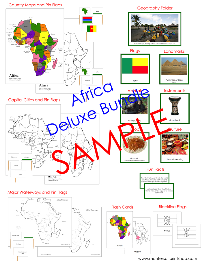 Deluxe Africa Geography Bundle - printable Montessori Geography materials