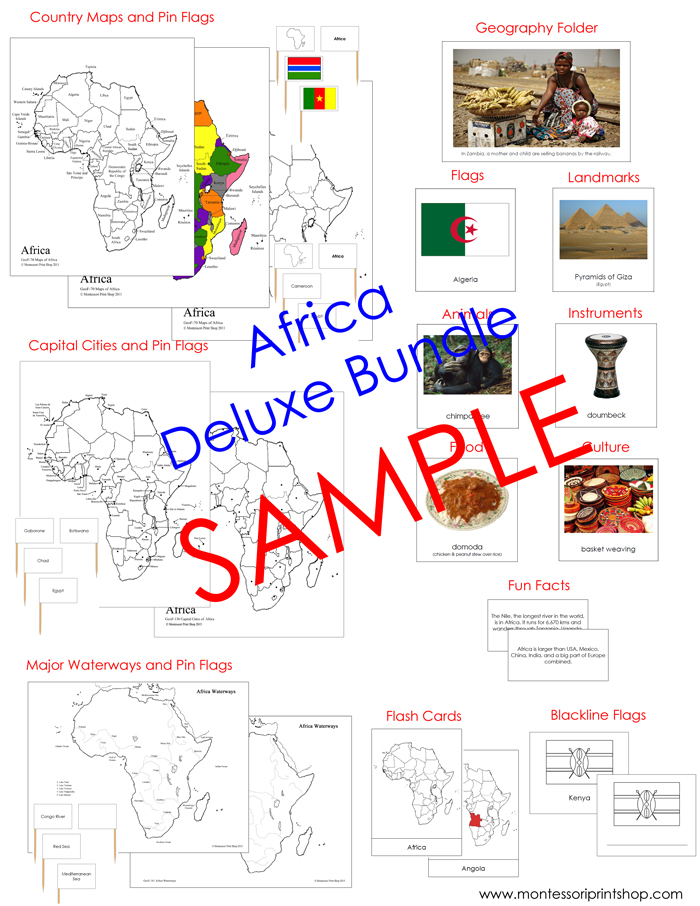 Deluxe Africa Geography Bundle (NCB) - printable Montessori Geography materials