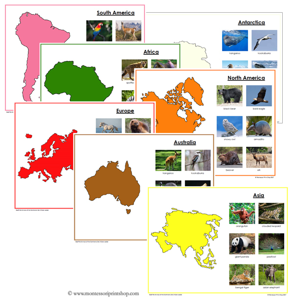 Animals of the Continents - Printable Montessori Geography Learning Materials for home and school.