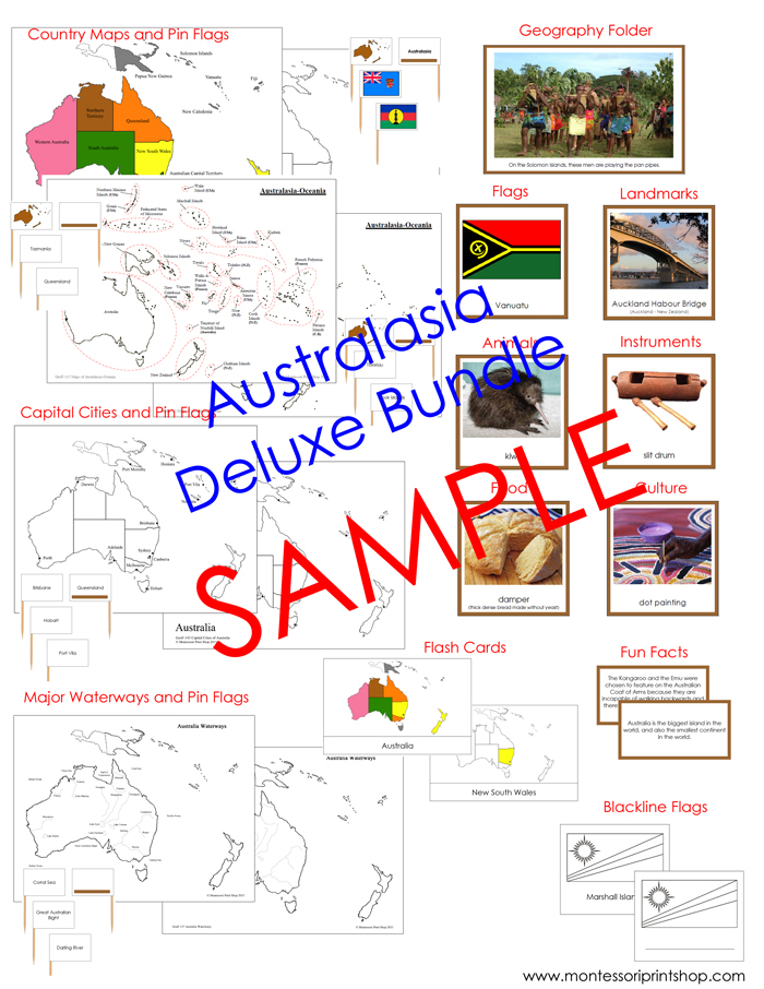 Australia/Oceania Deluxe Bundle - Geography Continent Study Cards