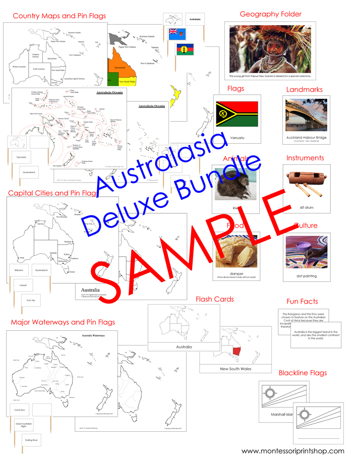 Australia/Oceania Deluxe Bundle NCB - Geography Continent Study Cards