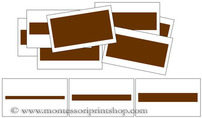 Broad/Brown Stair Cards (centered) - Printable Montessori Sensorial Materials for Montessori Learning at home and school.