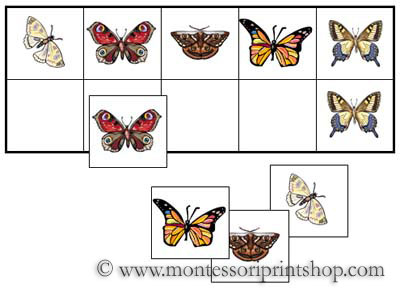 Butterfly Match-Up and Memory Sheets for Montessori Learning at home and school.