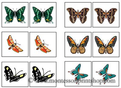 Butterfly Match-Up Cards for Montessori Learning at home and school