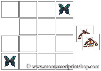 Butterfly Memory Game for Montessori Learning at home and school