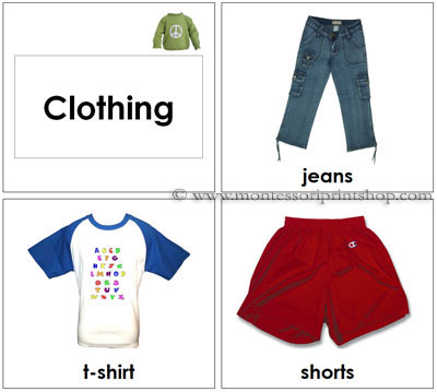 Toddler Clothing Cards - Printable Montessori Toddler Materials for Montessori Learning at home and school.