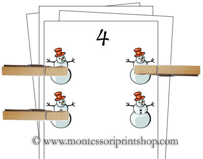 Counting Cards (Winter) - Printable Montessori Materials for home and school.