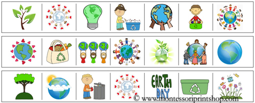 Earth Day Cutting Strips - Printable Montessori materials that save teachers time for Montessori Learning at home and school.