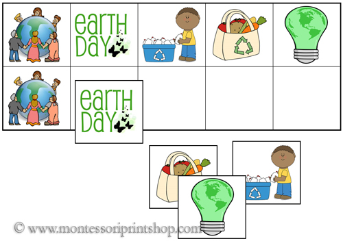Earth Day Match-Up and Memory Sheets for Montessori Learning at home and school.