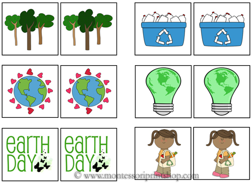 Earth Day Match-Up Cards for Montessori Learning at home and school