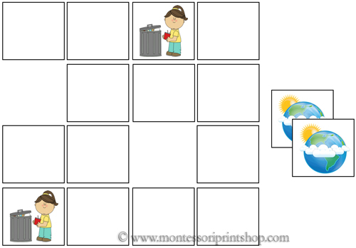 Earth Day Memory Game for Montessori Learning at home and school