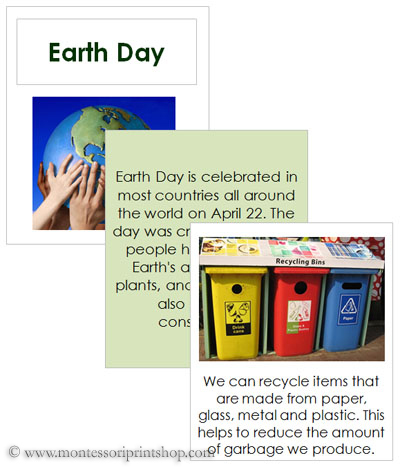 Earth Day Teaching Cards and Booklet - Printable Holiday & Celebration Cards for Montessori Learning at home and school.
