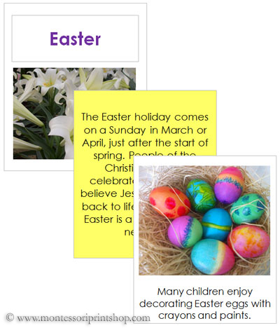 Easter Teaching Cards and Booklet - Printable Holiday & Celebration Cards for Montessori Learning at home and school.