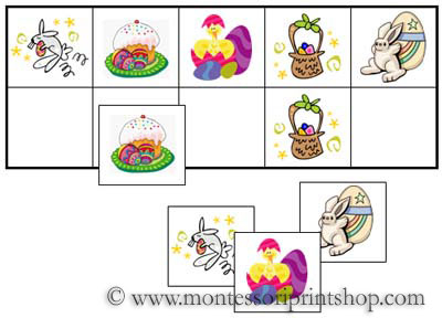 Easter Match-Up and Memory Sheets for Montessori Learning at home and school.