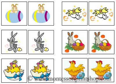 Easter Match-Up Cards for Montessori Learning at home and school