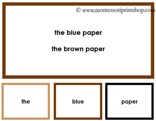 Montessori Elementary Grammar Box 3 Adjectives (Traditional Border Colors) - Montessori Learning Materials for home and school learning.